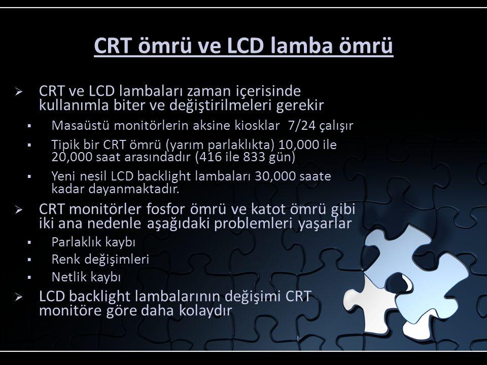 """CRT veya LCD? Maliyet  17"""" bir LCD dokunmatik monitör eşdeğeri görüntü boyutu sunan bir CRT monitörden sadece %30 daha pahalıdır  Eğer yer sorununuz"""