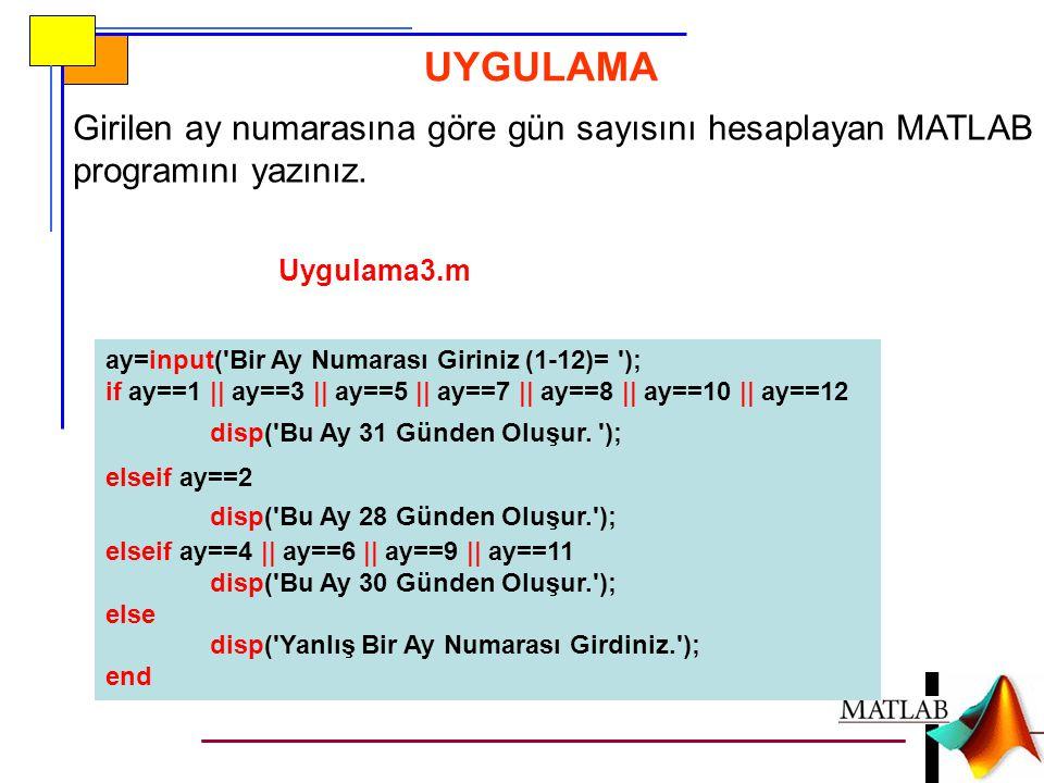 Girilen ay numarasına göre gün sayısını hesaplayan MATLAB programını yazınız. UYGULAMA Uygulama3.m ay=input('Bir Ay Numarası Giriniz (1-12)= '); if ay