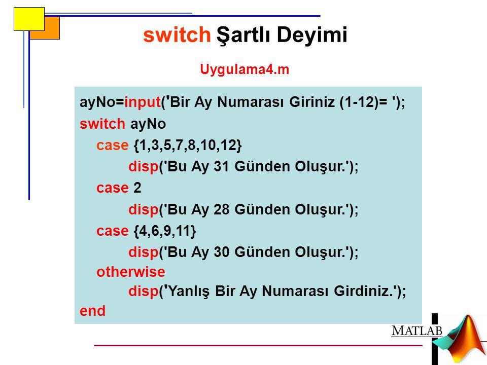 ayNo=input( ' Bir Ay Numarası Giriniz (1-12)= '); switch ayNo case {1,3,5,7,8,10,12} disp('Bu Ay 31 Günden Oluşur.'); case 2 disp('Bu Ay 28 Günden Olu