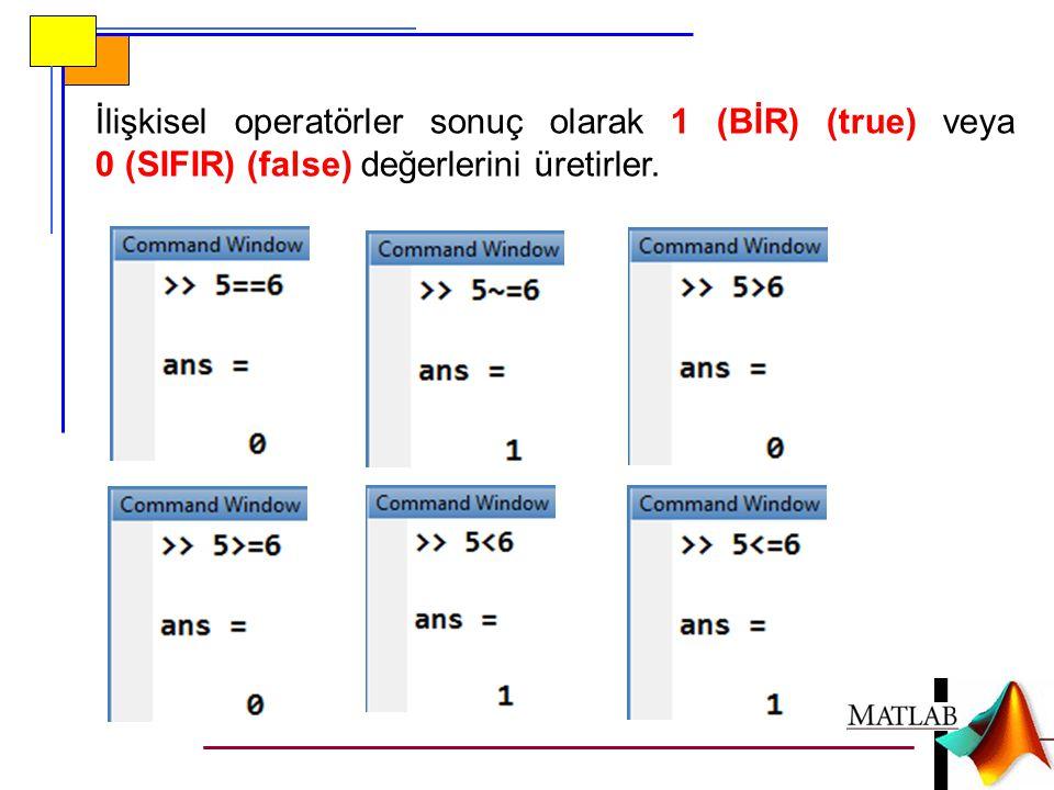  Eşitlik testinde 2 adet == işareti kullanılır.