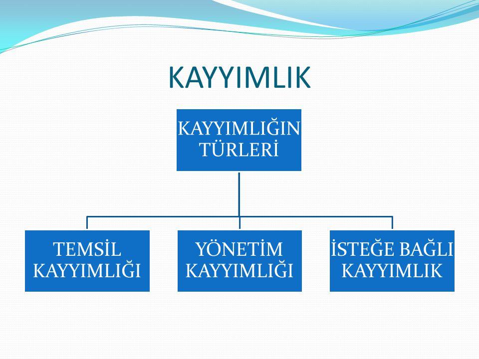 KAYYIMLIK e) Diğer Haller Yönetim kayyımlığı halleri yalnızca bu beş halle sınırlı değildir.