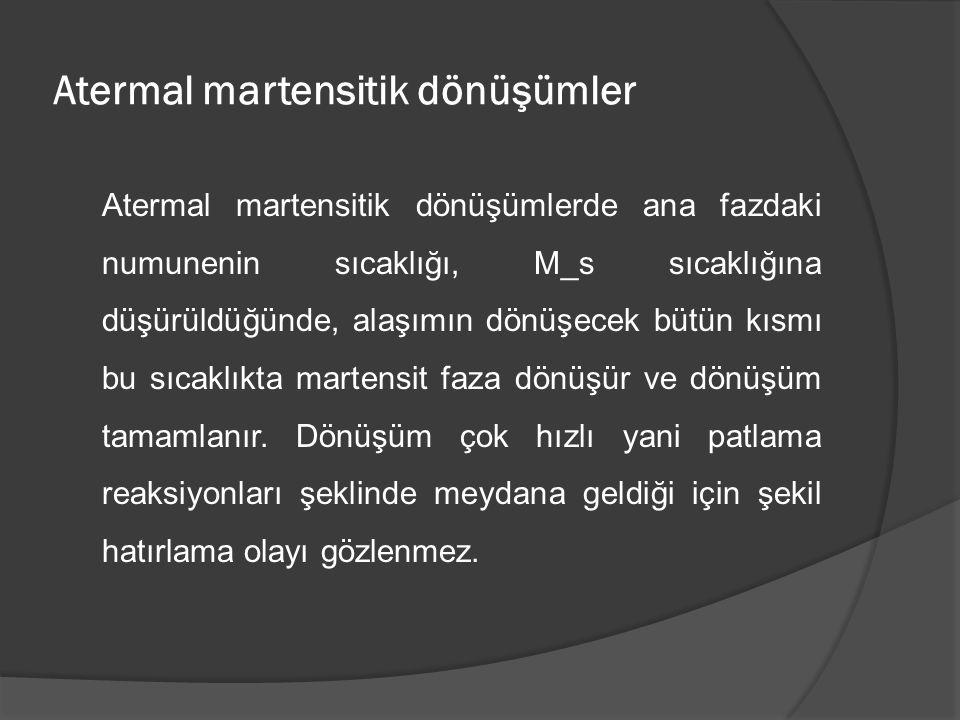 Atermal martensitik dönüşümler Atermal martensitik dönüşümlerde ana fazdaki numunenin sıcaklığı, M_s sıcaklığına düşürüldüğünde, alaşımın dönüşecek bü
