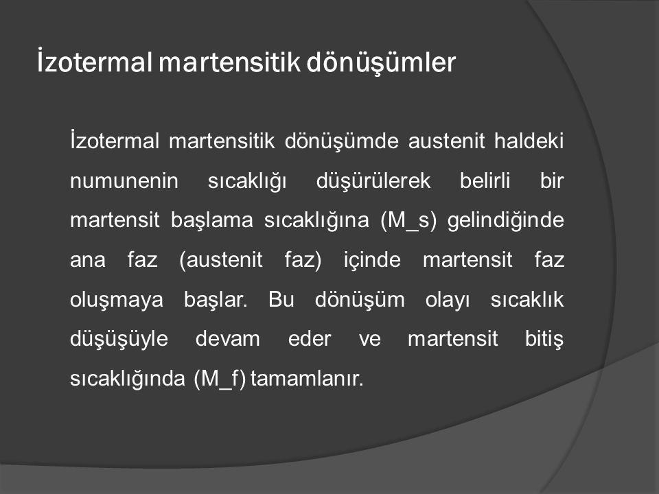 İzotermal martensitik dönüşümler İzotermal martensitik dönüşümde austenit haldeki numunenin sıcaklığı düşürülerek belirli bir martensit başlama sıcakl