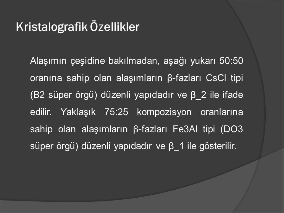Kristalografik Özellikler Alaşımın çeşidine bakılmadan, aşağı yukarı 50:50 oranına sahip olan alaşımların β-fazları CsCl tipi (B2 süper örgü) düzenli