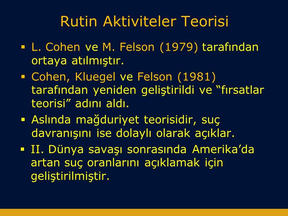 Rutin Aktiviteler Teorisi  L. Cohen ve M. Felson (1979) tarafından ortaya atılmıştır.  Cohen, Kluegel ve Felson (1981) tarafından yeniden geliştiril