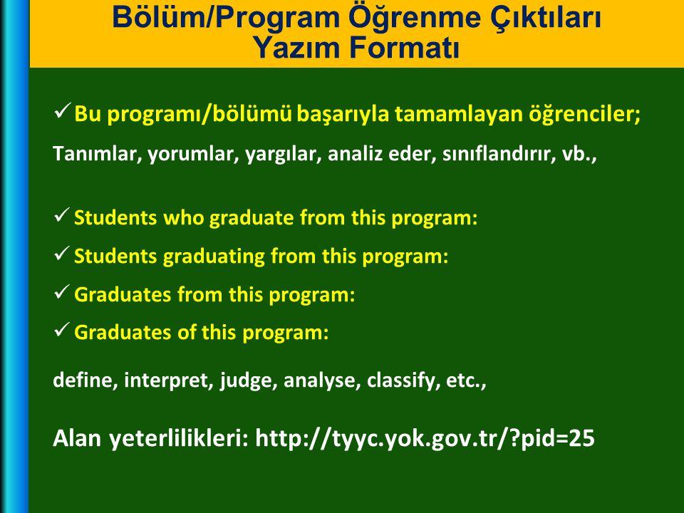  Bu programı/bölümü başarıyla tamamlayan öğrenciler; Tanımlar, yorumlar, yargılar, analiz eder, sınıflandırır, vb.,  Students who graduate from this