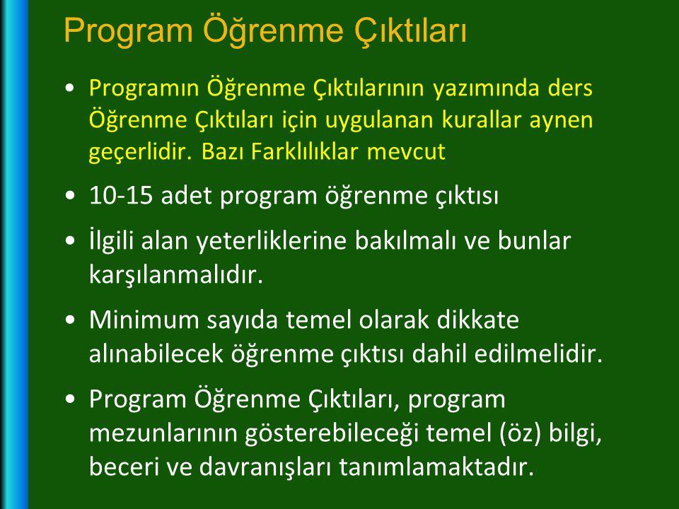 Program Öğrenme Çıktıları •Programın Öğrenme Çıktılarının yazımında ders Öğrenme Çıktıları için uygulanan kurallar aynen geçerlidir. Bazı Farklılıklar