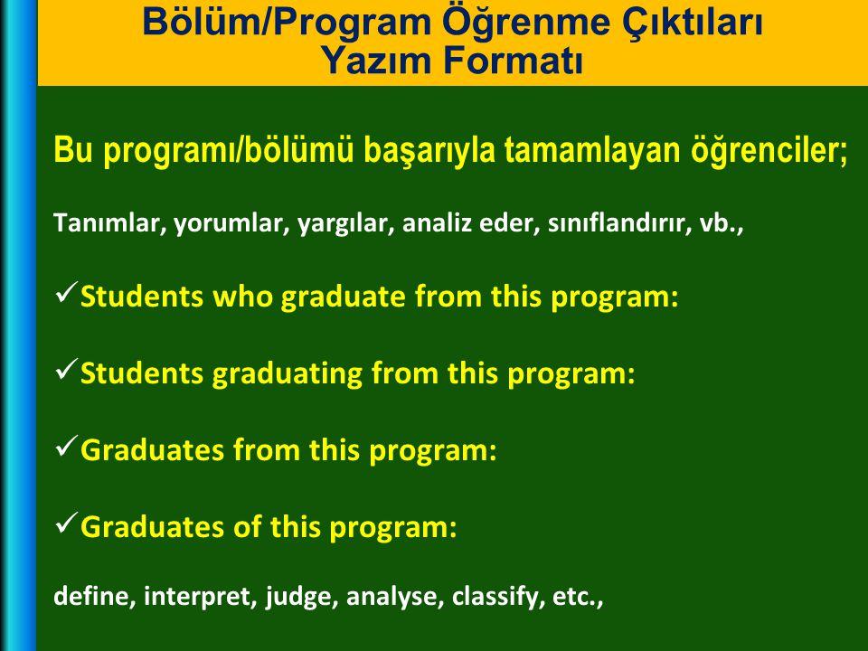 Bu programı/bölümü başarıyla tamamlayan öğrenciler; Tanımlar, yorumlar, yargılar, analiz eder, sınıflandırır, vb.,  Students who graduate from this p