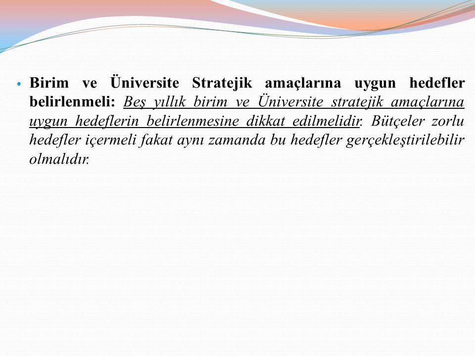 • Birim ve Üniversite Stratejik amaçlarına uygun hedefler belirlenmeli: Beş yıllık birim ve Üniversite stratejik amaçlarına uygun hedeflerin belirlenm