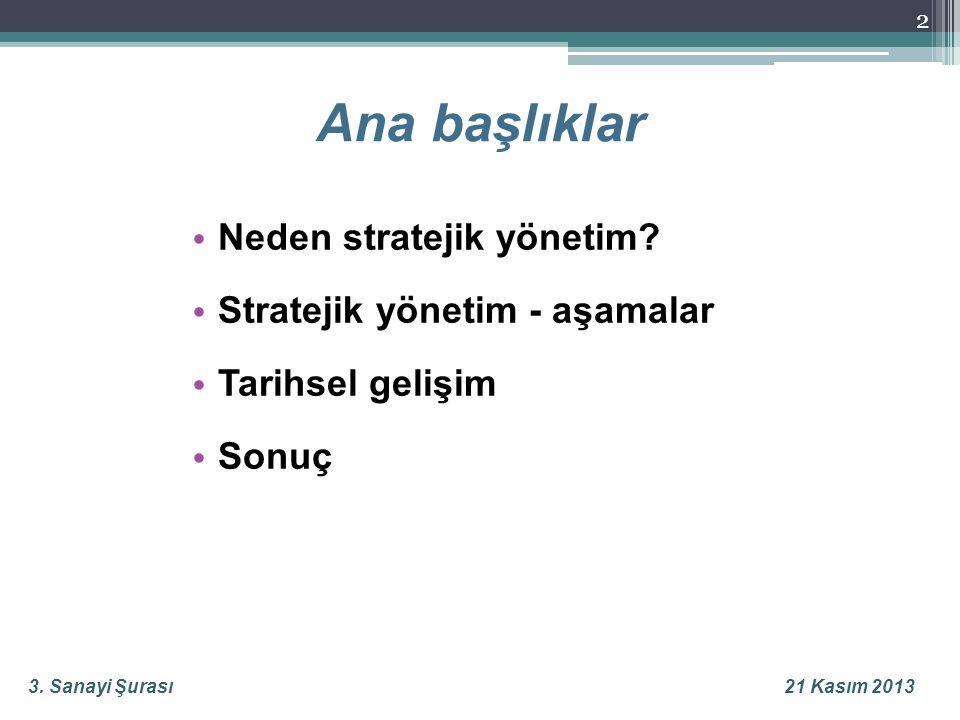 3.Sanayi Şurası21 Kasım 2013 Ana başlıklar 2 • Neden stratejik yönetim.