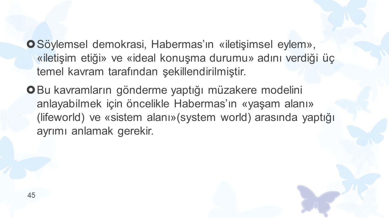  Söylemsel demokrasi, Habermas'ın «iletişimsel eylem», «iletişim etiği» ve «ideal konuşma durumu» adını verdiği üç temel kavram tarafından şekillendi