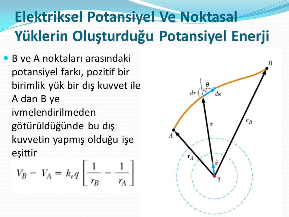 Elektriksel Potansiyel Ve Noktasal Yüklerin Oluşturduğu Potansiyel Enerji  B ve A noktaları arasındaki potansiyel farkı, pozitif bir birimlik yük bir
