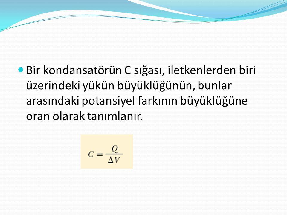  Bir kondansatörün C sığası, iletkenlerden biri üzerindeki yükün büyüklüğünün, bunlar arasındaki potansiyel farkının büyüklüğüne oran olarak tanımlan