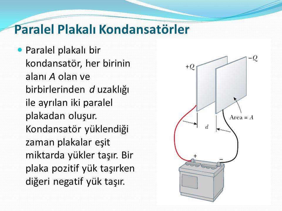 Paralel Plakalı Kondansatörler  Paralel plakalı bir kondansatör, her birinin alanı A olan ve birbirlerinden d uzaklığı ile ayrılan iki paralel plakad