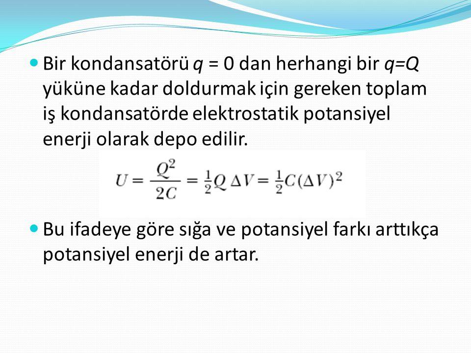  Bir kondansatörü q = 0 dan herhangi bir q=Q yüküne kadar doldurmak için gereken toplam iş kondansatörde elektrostatik potansiyel enerji olarak depo