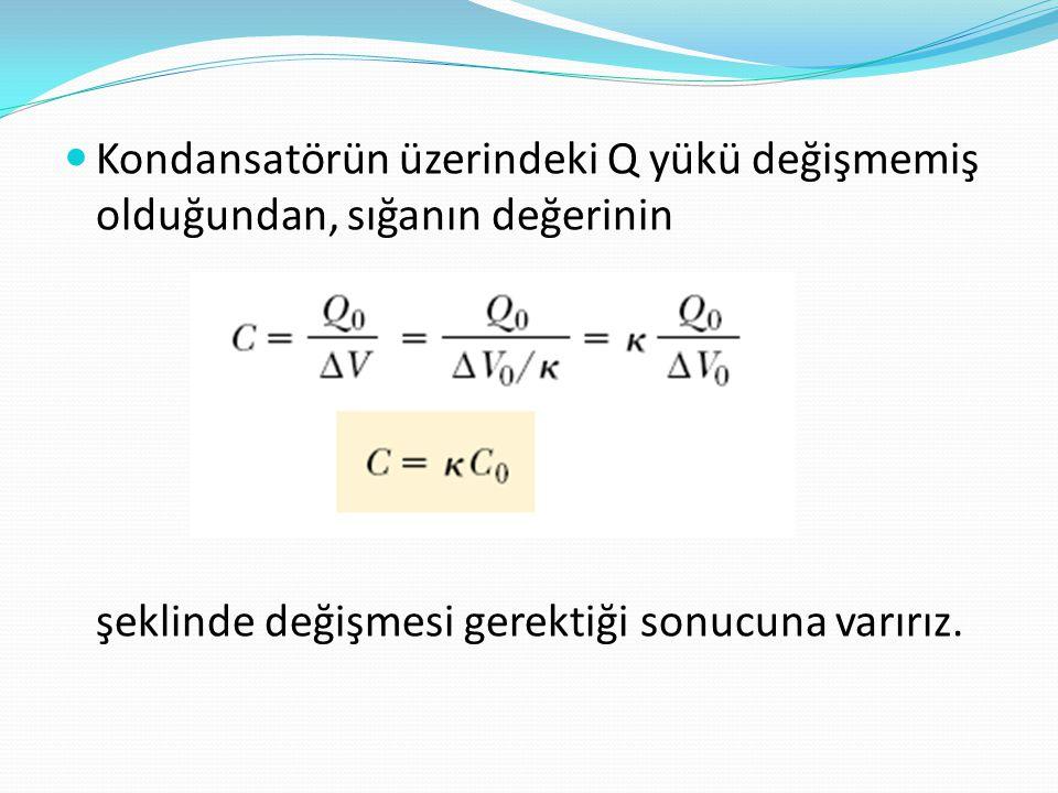  Kondansatörün üzerindeki Q yükü değişmemiş olduğundan, sığanın değerinin şeklinde değişmesi gerektiği sonucuna varırız.
