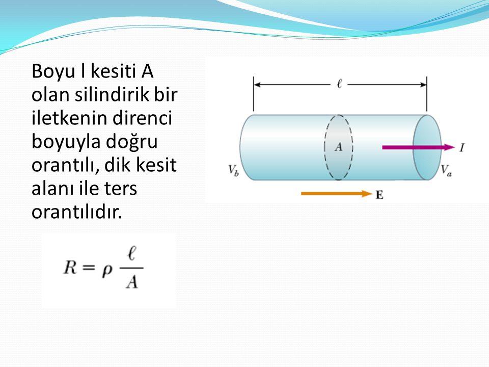 Boyu l kesiti A olan silindirik bir iletkenin direnci boyuyla doğru orantılı, dik kesit alanı ile ters orantılıdır.