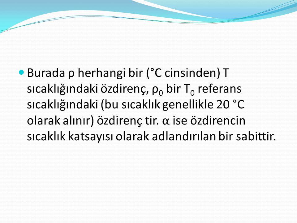  Burada ρ herhangi bir (°C cinsinden) T sıcaklığındaki özdirenç, ρ 0 bir T 0 referans sıcaklığındaki (bu sıcaklık genellikle 20 °C olarak alınır) özd