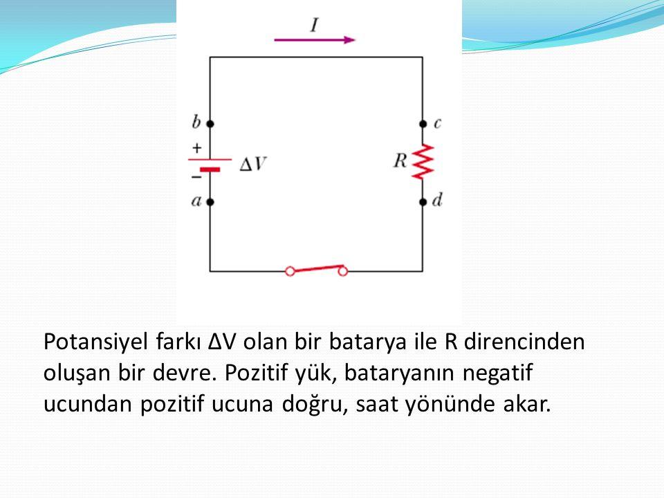 Potansiyel farkı ∆V olan bir batarya ile R direncinden oluşan bir devre. Pozitif yük, bataryanın negatif ucundan pozitif ucuna doğru, saat yönünde aka