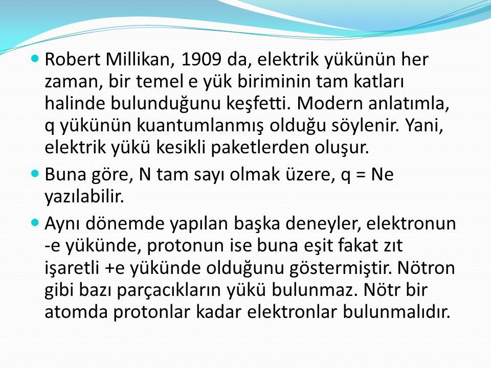  Robert Millikan, 1909 da, elektrik yükünün her zaman, bir temel e yük biriminin tam katları halinde bulunduğunu keşfetti. Modern anlatımla, q yükünü