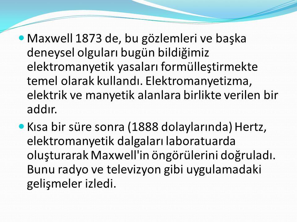  Maxwell 1873 de, bu gözlemleri ve başka deneysel olguları bugün bildiğimiz elektromanyetik yasaları formülleştirmekte temel olarak kullandı. Elektro