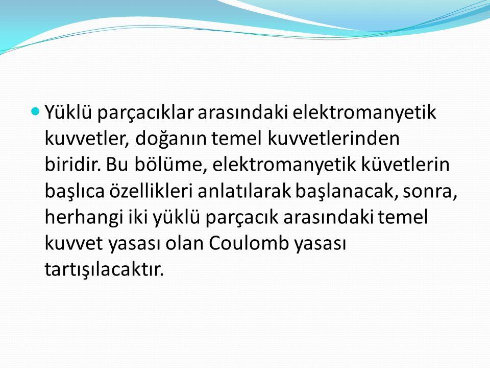  Yüklü parçacıklar arasındaki elektromanyetik kuvvetler, doğanın temel kuvvetlerinden biridir. Bu bölüme, elektromanyetik küvetlerin başlıca özellikl