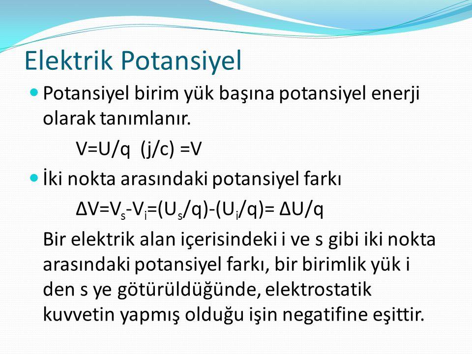 Elektrik Potansiyel  Potansiyel birim yük başına potansiyel enerji olarak tanımlanır. V=U/q (j/c) =V  İki nokta arasındaki potansiyel farkı ∆V=V s -