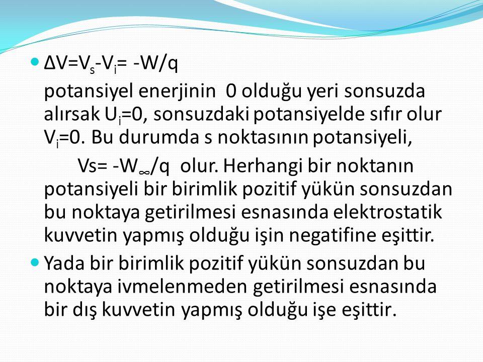  ∆V=V s -V i = -W/q potansiyel enerjinin 0 olduğu yeri sonsuzda alırsak U i =0, sonsuzdaki potansiyelde sıfır olur V i =0. Bu durumda s noktasının po