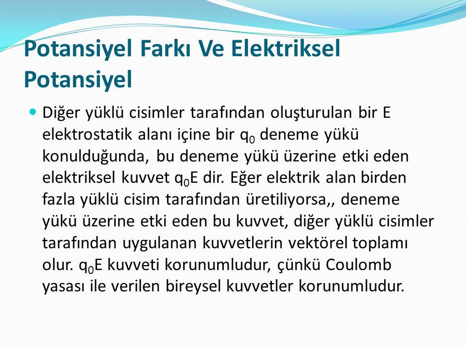 Potansiyel Farkı Ve Elektriksel Potansiyel  Diğer yüklü cisimler tarafından oluşturulan bir E elektrostatik alanı içine bir q 0 deneme yükü konulduğu