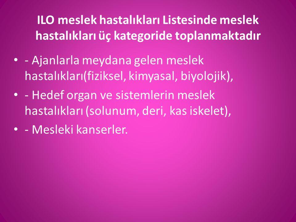ILO meslek hastalıkları Listesinde meslek hastalıkları üç kategoride toplanmaktadır • - Ajanlarla meydana gelen meslek hastalıkları(fiziksel, kimyasal