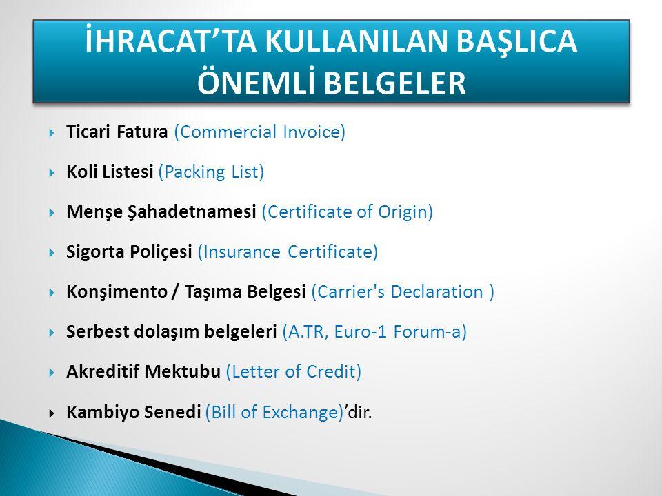  Ticari Fatura (Commercial Invoice)  Koli Listesi (Packing List)  Menşe Şahadetnamesi (Certificate of Origin)  Sigorta Poliçesi (Insurance Certifi