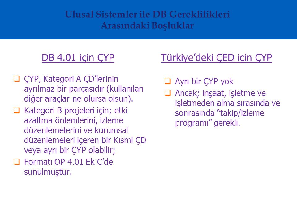 Ulusal Sistemler ile DB Gereklilikleri Arasındaki Boşluklar DB 4.01 için ÇYP  ÇYP, Kategori A ÇD'lerinin ayrılmaz bir parçasıdır (kullanılan diğer araçlar ne olursa olsun).
