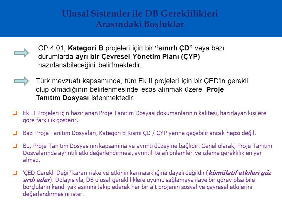 Ulusal Sistemler ile DB Gereklilikleri Arasındaki Boşluklar  Ek II Projeleri için hazırlanan Proje Tanıtım Dosyası dokümanlarının kalitesi, hazırlayan kişilere göre farklılık gösterir.
