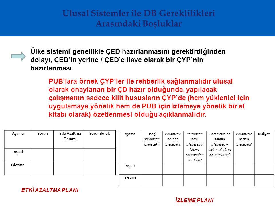 Ülke sistemi genellikle ÇED hazırlanmasını gerektirdiğinden dolayı, ÇED'in yerine / ÇED'e ilave olarak bir ÇYP'nin hazırlanması PUB'lara örnek ÇYP'ler