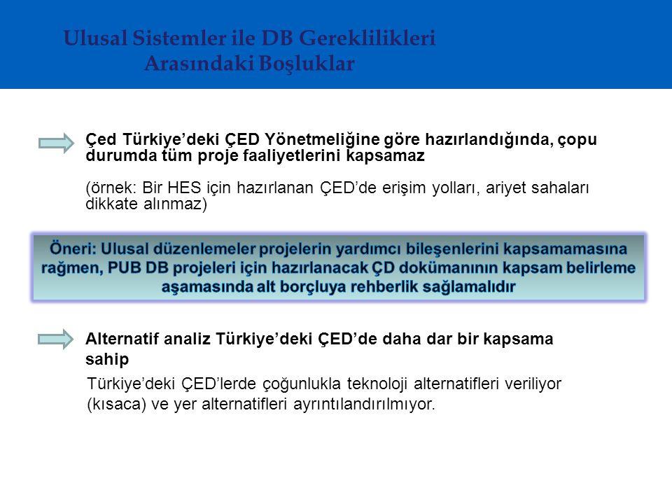Ulusal Sistemler ile DB Gereklilikleri Arasındaki Boşluklar Çed Türkiye'deki ÇED Yönetmeliğine göre hazırlandığında, çopu durumda tüm proje faaliyetlerini kapsamaz (örnek: Bir HES için hazırlanan ÇED'de erişim yolları, ariyet sahaları dikkate alınmaz) Alternatif analiz Türkiye'deki ÇED'de daha dar bir kapsama sahip Türkiye'deki ÇED'lerde çoğunlukla teknoloji alternatifleri veriliyor (kısaca) ve yer alternatifleri ayrıntılandırılmıyor.