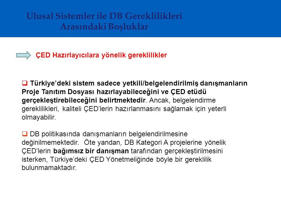 ÇED Hazırlayıcılara yönelik gereklilikler  Türkiye'deki sistem sadece yetkili/belgelendirilmiş danışmanların Proje Tanıtım Dosyası hazırlayabileceğini ve ÇED etüdü gerçekleştirebileceğini belirtmektedir.
