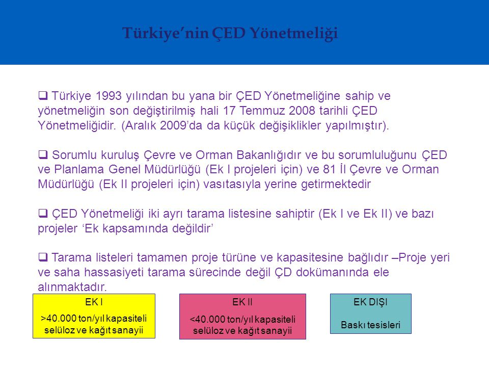 Türkiye'nin ÇED Yönetmeliği  Türkiye 1993 yılından bu yana bir ÇED Yönetmeliğine sahip ve yönetmeliğin son değiştirilmiş hali 17 Temmuz 2008 tarihli