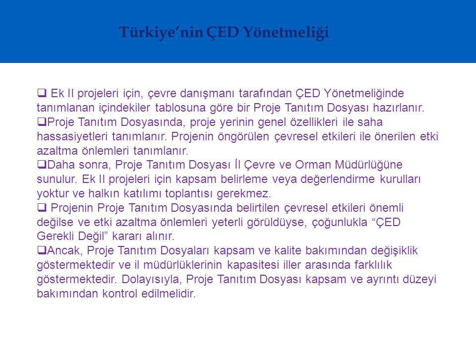 Türkiye'nin ÇED Yönetmeliği  Ek II projeleri için, çevre danışmanı tarafından ÇED Yönetmeliğinde tanımlanan içindekiler tablosuna göre bir Proje Tanıtım Dosyası hazırlanır.