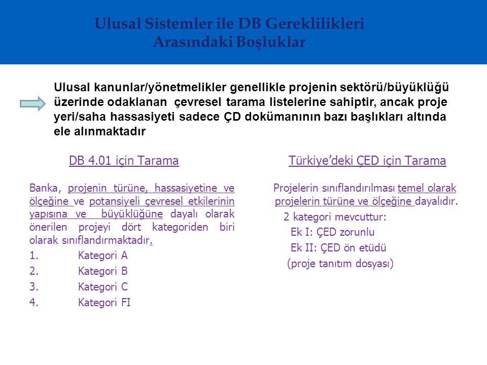 Ulusal Sistemler ile DB Gereklilikleri Arasındaki Boşluklar Ulusal kanunlar/yönetmelikler genellikle projenin sektörü/büyüklüğü üzerinde odaklanan çevresel tarama listelerine sahiptir, ancak proje yeri/saha hassasiyeti sadece ÇD dokümanının bazı başlıkları altında ele alınmaktadır DB 4.01 için Tarama Banka, projenin türüne, hassasiyetine ve ölçeğine ve potansiyeli çevresel etkilerinin yapısına ve büyüklüğüne dayalı olarak önerilen projeyi dört kategoriden biri olarak sınıflandırmaktadır.