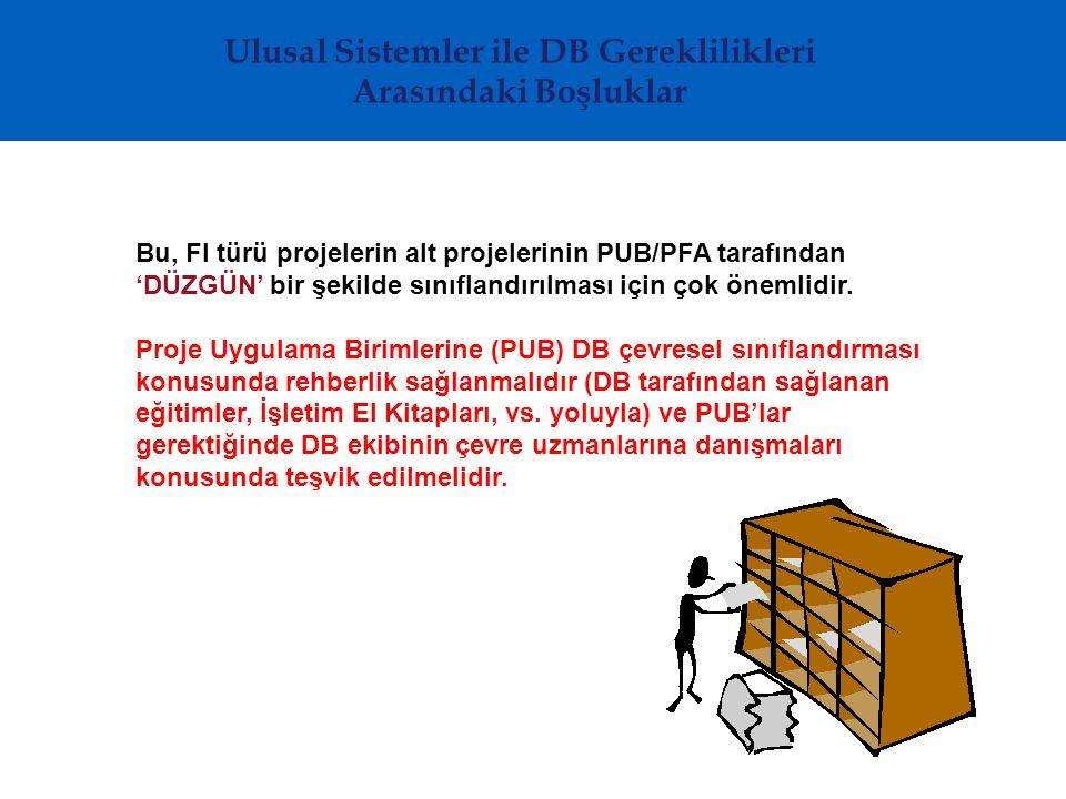 Ulusal Sistemler ile DB Gereklilikleri Arasındaki Boşluklar Bu, FI türü projelerin alt projelerinin PUB/PFA tarafından 'DÜZGÜN' bir şekilde sınıflandırılması için çok önemlidir.