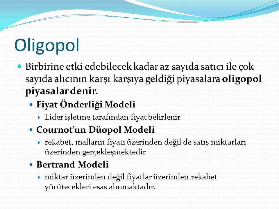 Oligopol  Birbirine etki edebilecek kadar az sayıda satıcı ile çok sayıda alıcının karşı karşıya geldiği piyasalara oligopol piyasalar denir.  Fiyat