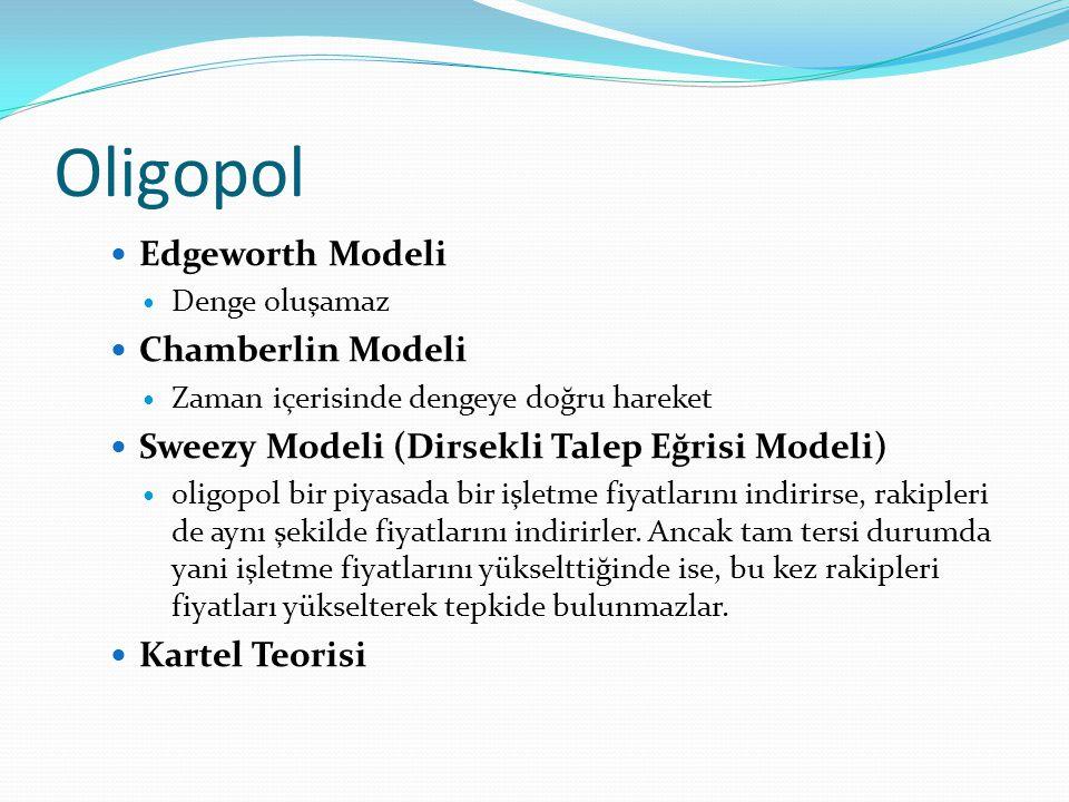 Oligopol  Edgeworth Modeli  Denge oluşamaz  Chamberlin Modeli  Zaman içerisinde dengeye doğru hareket  Sweezy Modeli (Dirsekli Talep Eğrisi Model