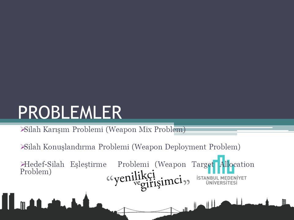PROBLEMLER  Silah Karışım Problemi (Weapon Mix Problem)  Silah Konuşlandırma Problemi (Weapon Deployment Problem)  Hedef-Silah Eşleştirme Problemi