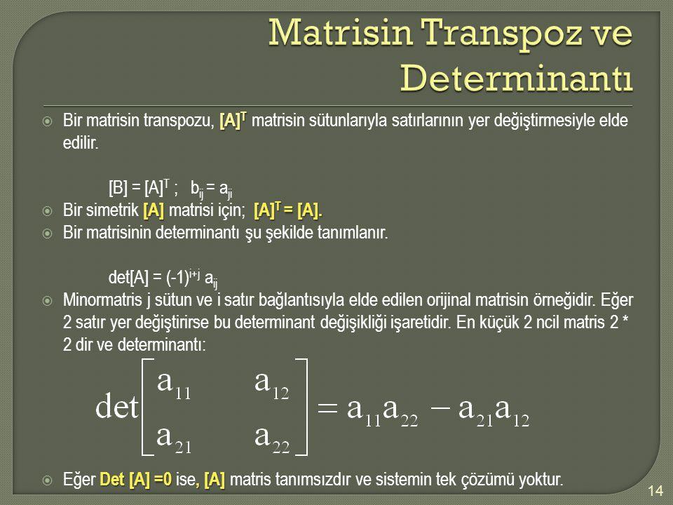 [A] T  Bir matrisin transpozu, [A] T matrisin sütunlarıyla satırlarının yer değiştirmesiyle elde edilir. [B] = [A] T ; b ij = a ji [A] [A] T = [A]. 