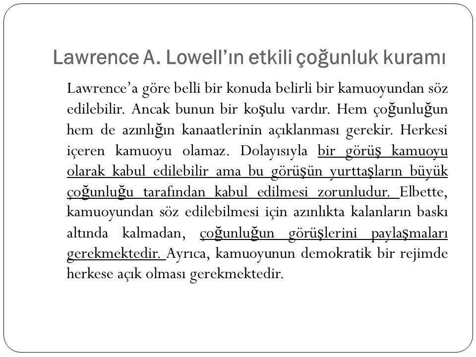 Lawrence A. Lowell'ın etkili çoğunluk kuramı Lawrence'a göre belli bir konuda belirli bir kamuoyundan söz edilebilir. Ancak bunun bir ko ş ulu vardır.
