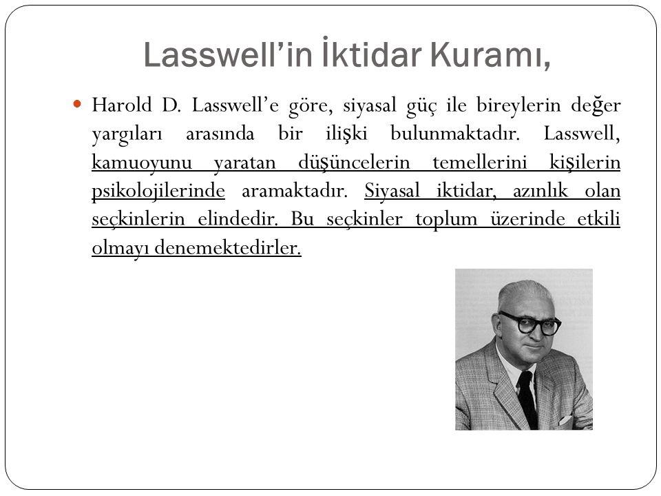 Lasswell'in İktidar Kuramı,  Harold D. Lasswell'e göre, siyasal güç ile bireylerin de ğ er yargıları arasında bir ili ş ki bulunmaktadır. Lasswell, k