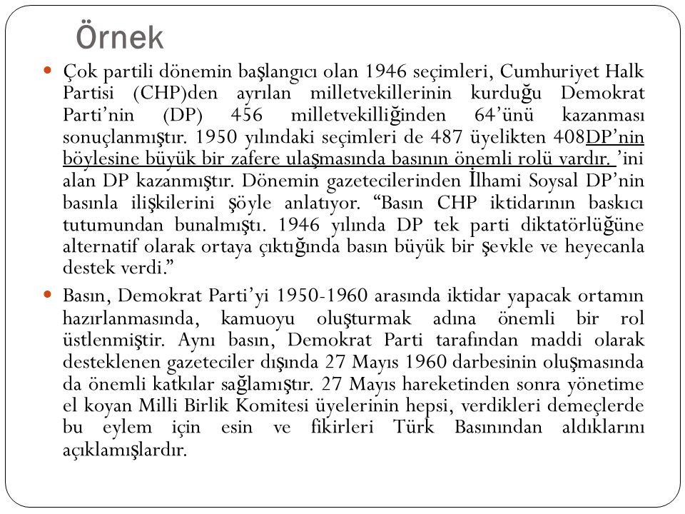 Örnek  Çok partili dönemin ba ş langıcı olan 1946 seçimleri, Cumhuriyet Halk Partisi (CHP)den ayrılan milletvekillerinin kurdu ğ u Demokrat Parti'nin