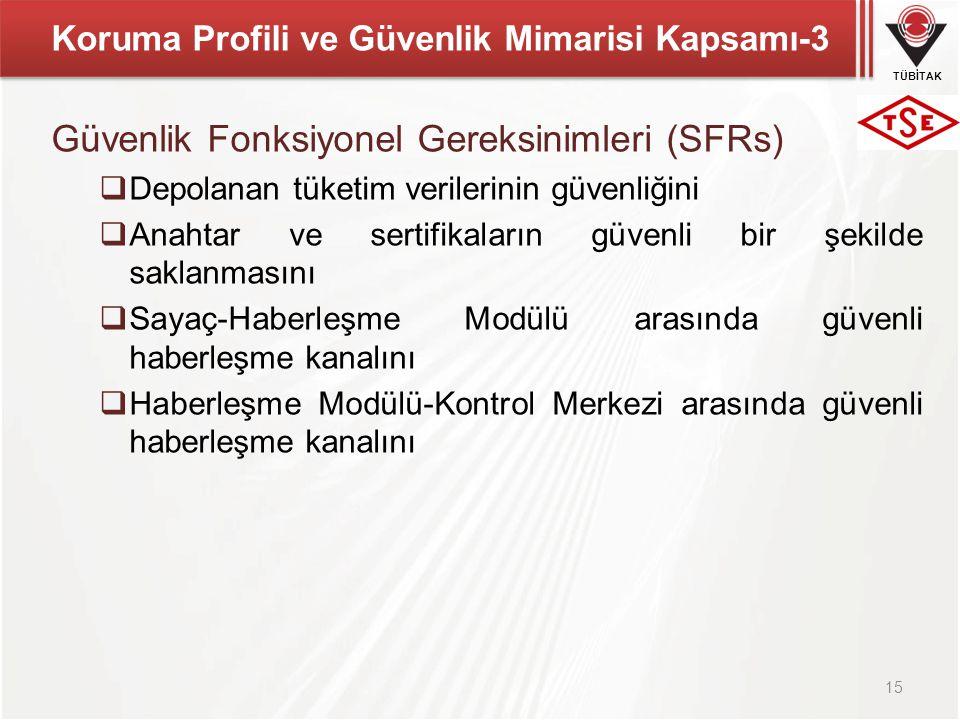 TÜBİTAK Koruma Profili ve Güvenlik Mimarisi Kapsamı-3 Güvenlik Fonksiyonel Gereksinimleri (SFRs)  Depolanan tüketim verilerinin güvenliğini  Anahtar