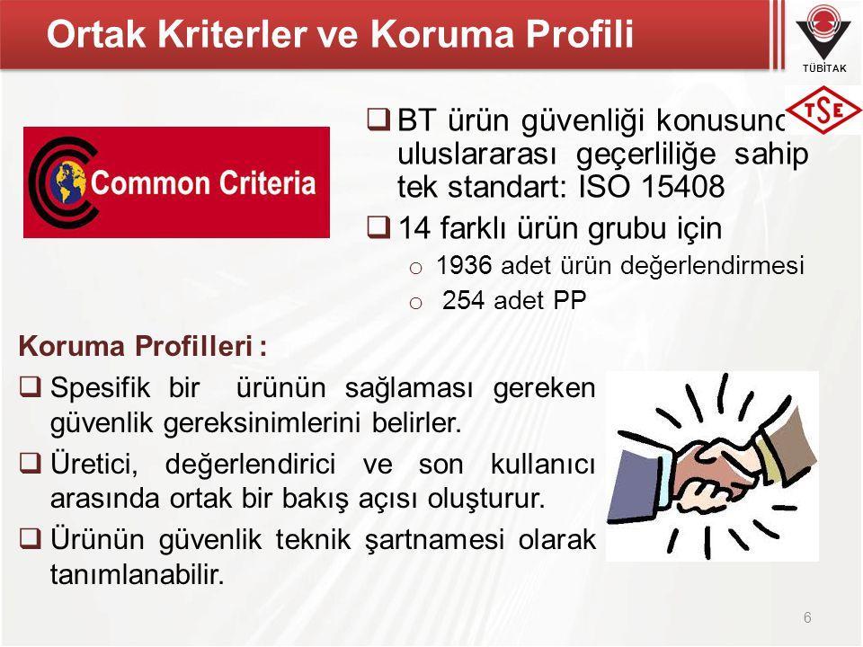 TÜBİTAK Ortak Kriterler ve Koruma Profili  BT ürün güvenliği konusunda uluslararası geçerliliğe sahip tek standart: ISO 15408  14 farklı ürün grubu