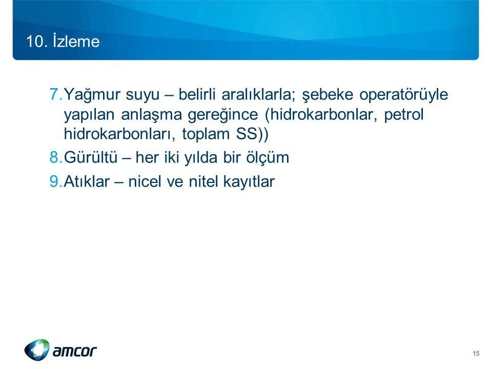 10. İzleme 7.Yağmur suyu – belirli aralıklarla; şebeke operatörüyle yapılan anlaşma gereğince (hidrokarbonlar, petrol hidrokarbonları, toplam SS)) 8.G